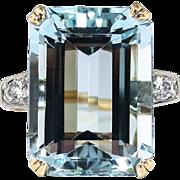 Vintage 1940's 12.79ct t.w. Emerald Cut Aquamarine & Diamond Cocktail Ring 14k