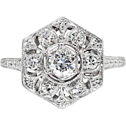 Vintage Art Deco 1930's .29ct t.w. Old European Cut Diamond Filigree Engraved Engagement Ring Platinum