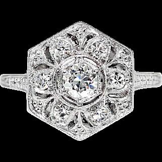 Vintage Art Deco 1930's .29ct t.w. Old European Cut Diamond Filigree Engraved Engagement Ring Platinum