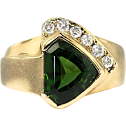Vintage Estate 1980's 2.46ct t.w. Shield Cut Chrome Green Tourmaline & Diamond Cocktail Ring 18k Gold