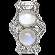 Art Deco Vintage 1930's 5.50ct t.w. Moonstone Diamond Platinum Navette Cocktail Anniversary Ring