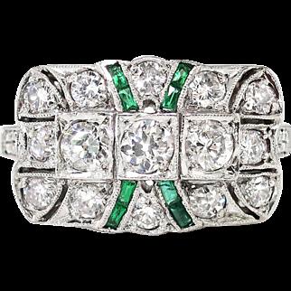 Art Deco 1930's Vintage 1.78ct t.w. Lab Emerald & Old Cut Diamond Hand Engraved Platinum Ring