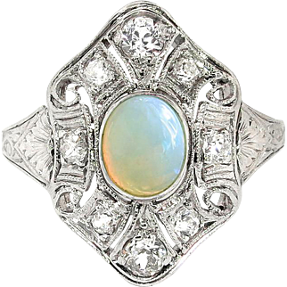 Vintage Art Deco 1930's .77ct t.w. Fire Opal & Diamond Filigree Platinum Birthstone Anniversary Cocktail Ring