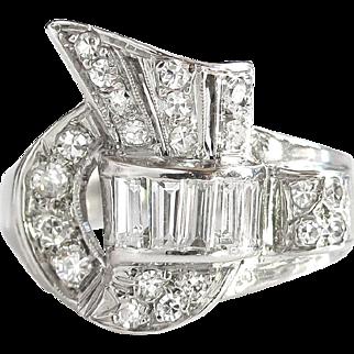 Vintage Retro 1950's 1ct t.w. Mixed Cut Diamond Spray Cocktail Anniversary Ring 14k White Gold