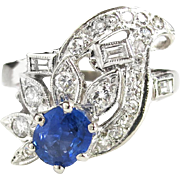 Vintage Retro 1940's 1.37ct t.w. Blue Sapphire & Diamond Cocktail Anniversary Ring Band 14k White Gold