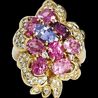 Estate Vintage 1990's 4.15ct t.w. Pink Purple Sapphire Diamond Floral Bouquet Cocktail Ring 18k