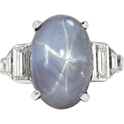 Art Deco 1930's Vintage 14.82ct t.w. Lavender Blue-Gray Star Sapphire Platinum Diamond Ring