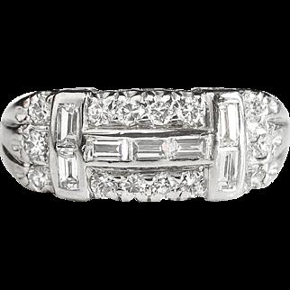 Vintage Estate 1940's .77ct t.w. Mixed Cut Diamond Band Anniversary Ring Platinum