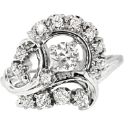 Retro Vintage 1940's Jabel .79ct t.w. Old European Cut Diamond Spray Cocktail Anniversary 18k Ring