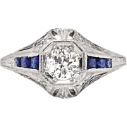 Vintage Art Deco 1930's .58ct t.w. Old European Cut Diamond & Sapphire Engagement Ring Platinum