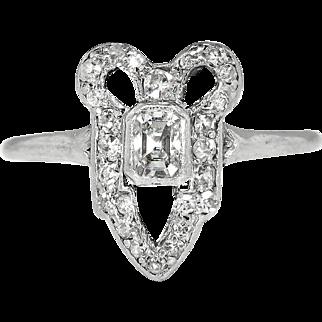 Edwardian 1920's Vintage .49ct t.w. Emerald Cut Diamond Engagement Anniversary Bow Ring Platinum