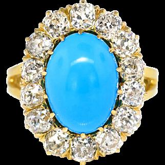 Vintage Art Deco 1930's 6.04ct t.w. Turquoise & Old European Cut Diamond Cocktail Ring 18k