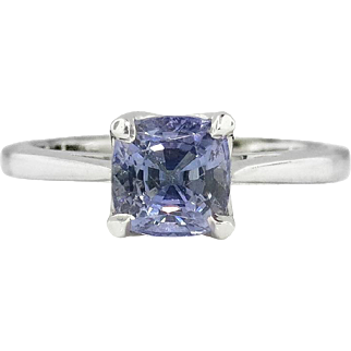 Estate Cushion Cut 1.22ct Tanzanite Solitaire Engagement Wedding Anniversary Stacking Ring Platinum