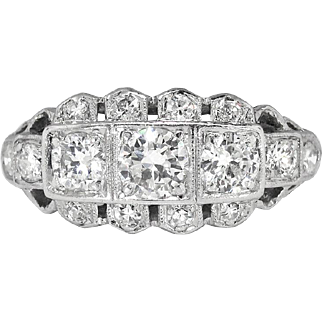 Art Deco 1930's Vintage 1.04ct t.w. Old Transitional Cut Diamond Engagement Anniversary Cocktail Ring Platinum