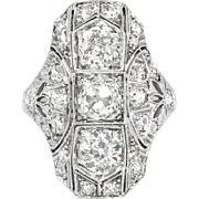 Art Deco 1930's Vintage 2.07ct t.w. Old European Cut Diamond Hand Engraved Filigree Platinum Engagement Cocktail Ring