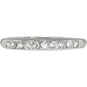 Vintage 1940's Bristol .20ct t.w. Ten Diamond Vintage Wedding Stacking Anniversary Band Ring 18k White Gold