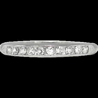 Vintage 1940's Bristol .20ct t.w. Ten Diamond Vintage Wedding Stacking Anniversary Band Ring 18k White Gold