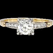 Vintage Retro 1950's .74ct t.w. Old Transitional Cut Diamond Two Tone Engagement Ring 14k Platinum