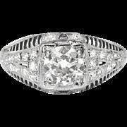 Vintage Art Deco 1930's .85ct t.w. Diamond Engagement Anniversary Wedding Ring Platinum