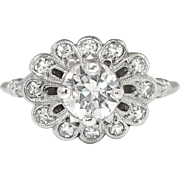 Art Deco 1930's Orange Blossom .89ct t.w. Old Transitional Cut Diamond Engagement Ring Platinum