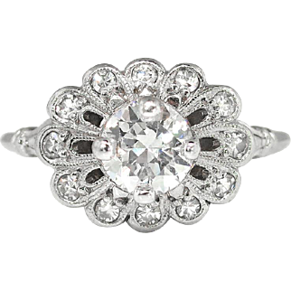 Art Deco 1930's Orange Blossom .89ct t.w. Old Transitional Cut Diamond Engagement Ring Platinum