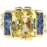 Estate Vintage 1970's 7.19ct t.w. Natural Yellow & Blue Sapphire Cocktail Anniversary Birthstone Ring 18k Yellow Gold