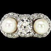 Edwardian 1910's Vintage .75ct t.w. Old European Cut Diamond Pearl Three Stone Engagement Wedding Ring Platinum 14k Yellow Gold