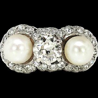 Edwardian 1920's Vintage .75ct t.w. Old European Cut Diamond Pearl Three Stone Engagement Wedding Ring Platinum 14k Yellow Gold