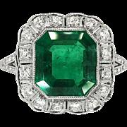 Vintage Edwardian 1920's 2.63ct t.w. Emerald Cut Emerald & Old Cut Diamond Halo Engagement Anniversary Birthstone Ring Platinum