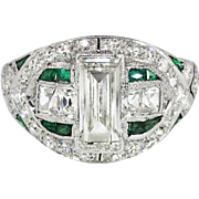 Vintage Edwardian 1920's 1.87ct t.w. Emerald Cut French Cut Diamond & Emerald Engagement Anniversary Ring Platinum