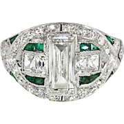 Antique Edwardian Diamond Engagement Ring Emerald Cut French Cut Diamond Emerald Anniversary Ring Platinum
