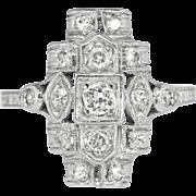 Vintage 1920's Edwardian .31ct t.w. Old European Cut Diamond Engagement Anniversary Cocktail Ring Platinum