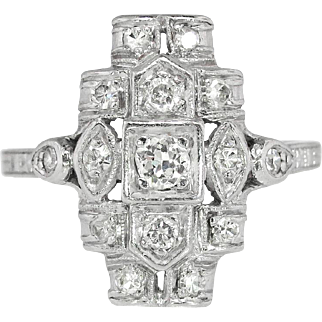 Vintage 1920's Edwardian .31ct t.w. Old European Cut Diamond Engagement Anniversary Cocktail Ring Platinum