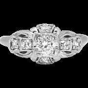 Vintage Art Deco 1930's Granat Bros .34ct t.w. Old European Cut Diamond Engagement Ring Platinum