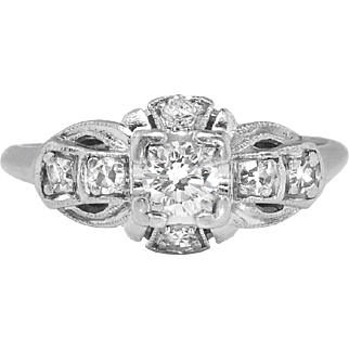 Vintage Art Deco 1930's Granat Bros .34ct t.w. Old European Cut Diamond Engagement Ring Platinum