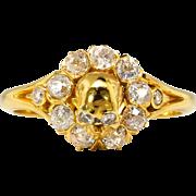 Victorian 1870's Memento Mori Skull .65ct t.w. Old Mine Cut Diamond Ring 22k Yellow Gold