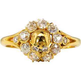 Victorian 1870's Memento Mori Skull .65ct t.w. Old Mine Cut Diamond Ring 22k Yellow Gold