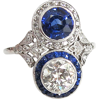 Antique Edwardian 1920's 3.39ct t.w. Old European Cut Diamond & Blue Sapphire Toi Et Moi Engagement Anniversary Ring Platinum
