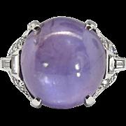 Art Deco Vintage 1930's No Heat Purple Star Sapphire Diamond Cocktail Anniversary Birthstone Engagement Ring Platinum