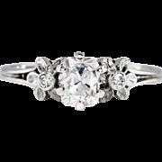Vintage Edwardian 1920's Old Cushion Cut Diamond Engagement Ring 14k White Gold