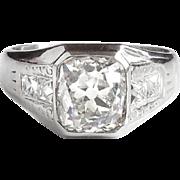 Antique Vintage Art Nouveau 1900's 2.57ct t.w. Old Cushion European Cut Diamond & French Cut Diamond Engagement Anniversary Ring Platinum