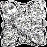 Antique Vintage Retro 1940's Old European Cut Diamond Statement Anniversary Cocktail Ring Platinum