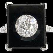 Art Deco Vintage 1930's Onyx Old European Cut Diamond Platinum Cocktail Anniversary Birthstone Engagement Ring