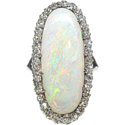 Vintage Estate 1940's 7.34ct t.w. Solid Opal & Diamond Halo Filigree 14k White Gold Engagement Cocktail Anniversary Ring