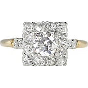 Art Deco Vintage 1930's Old European Cut Diamond Halo Engagement Wedding Anniversary Ring 14k White Yellow Gold