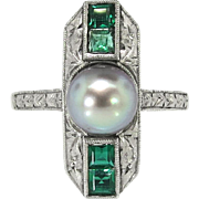 Antique Edwardian Vintage Gray Cultured Pearl Lab Green Emerald Cocktail Birthstone Ring Sterling Silver