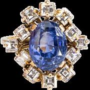 Vintage Estate 1950's Cornflower Blue Sapphire Asscher Diamond Halo 18k Yellow Gold Engagement Cocktail Anniversary Birthstone Ring