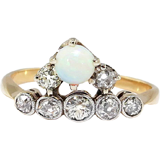Antique Art Nouveau 1900's Opal Old Mine Cut Diamond Birthstone Stacking Engagement Ring 18k White Yellow Gold