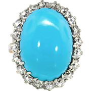 Vintage Edwardian 1920's Blue Turquoise & Old European Cut Diamond Halo Anniversary Birthstone Cocktail Ring 14k