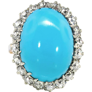 Vintage Edwardian 1920's Blue Turquoise & Old European Cut Diamond Halo Anniversary Birthstone Cocktail Ring 14k